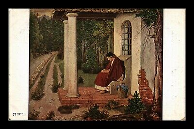 Dr Jim Stamps Woman Sitting On Front Porch Topical Painting Germany Postcard
