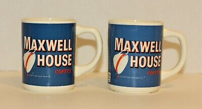 """Lot of 2 Vintage Maxwell House Coffee Mug Cup Blue """"Good To The Last Drop"""" USA"""