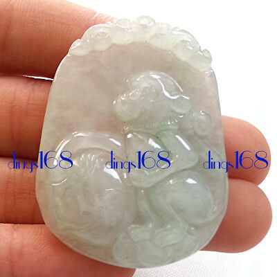Certified 100% Natural A Jade Jadeite Twelve zodiac Monkey Peach Pendant JD27