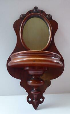 ANTIQUE Wall Mounting Victorian Mahogany Mirror with Semi Circular Shelf below.