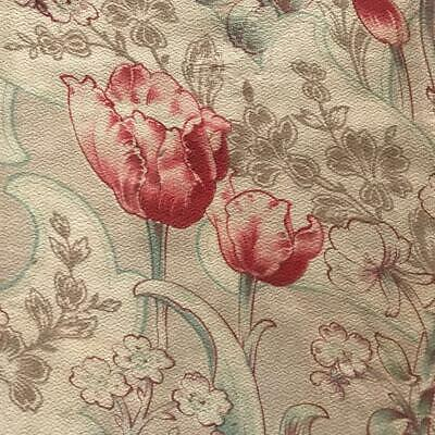 BEAUTIFUL 19th CENTURY FRENCH NAPOLEON III LINEN COTTON TULIPS & BLOSSOM 804