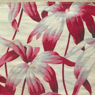 BEAUTIFUL 19th CENTURY FRENCH  LINEN COTTON LARGE SCALE FLORALS 807