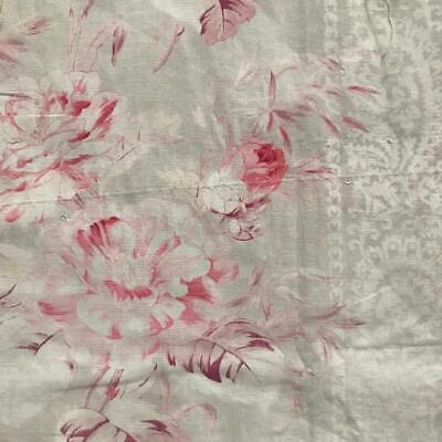 BEAUTIFUL GENTLY FADED 19th CENTURY FRENCH LINEN COTTON ROSES c1880 809