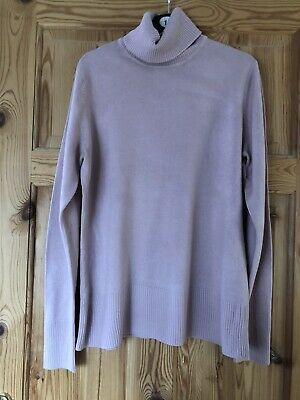 NEXT Ladies Pretty Pink Polo Neck Fine Knit Jumper Size 16