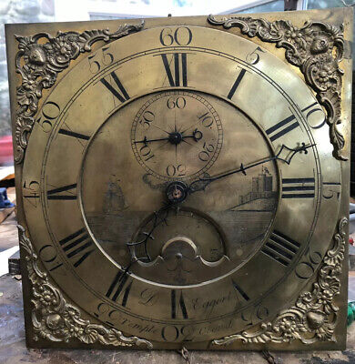 30H  Grandfather  Clock Dial And Movement Eggert Temple Cloud Bristol 18c