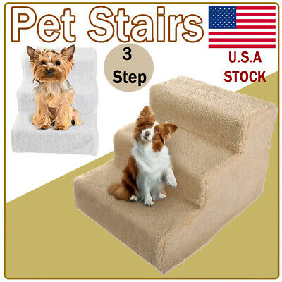 Cat Dog Pet Stairs 3 Steps Indoor Ramp Washable Soft Cover Ladder