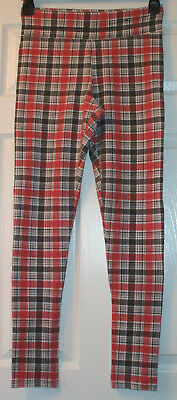 Funky pair of ladies grey, red & white check leggings from River Island, size 14