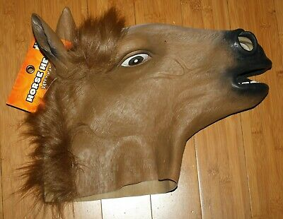 NWT Horse Head Mask Cosplay Latex Animal Costume Prop Spensors Adult MSRP $29.99