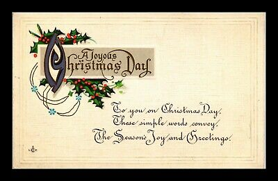 Dr Jim Stamps Us Joyous Christmas Day Embossed Topical Greetings Postcard