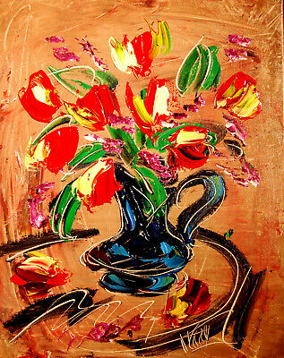 FLORAL RED ART    Impasto Impressionism Art Oil Painting Signed M.KAZAV CANADA