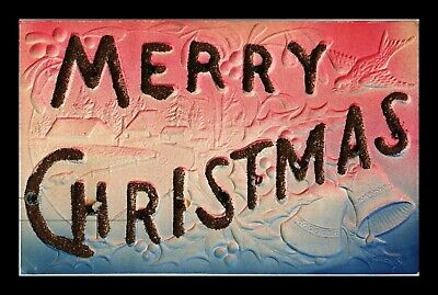 Dr Jim Stamps Us Glittered Merry Christmas Embossed Topical Greetings Postcard
