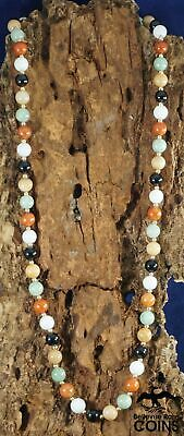 """14k Yellow Gold & Hand-Carved Multi-Color Jade Bead Necklace 29"""""""