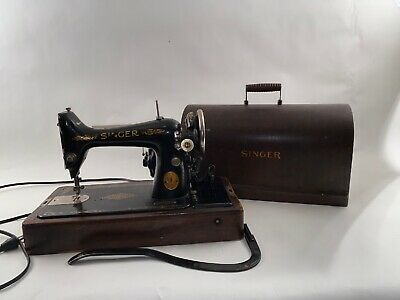 Vintage 1923 Singer Electric Sewing Machine Bent Wood Case Y1500418 99K As Is