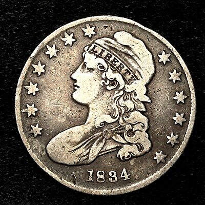 1834 ~**BETTER GRADE**~ Silver Capped Bust Half Dollar Antique US Old Coin! #C22