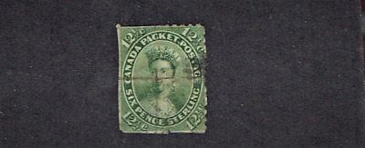 1859 Canada (BNA) Queen Victoria 12 1/2c Yel Green Sc#18 Used Trim Very Scarce!