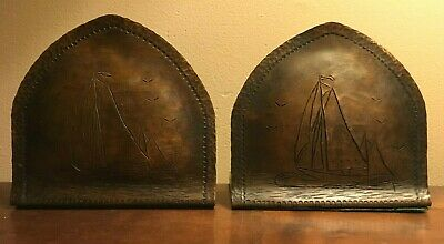 Arts & Crafts Style Handmade Hammered Copper Sailboat Sea Bookends Craftsman