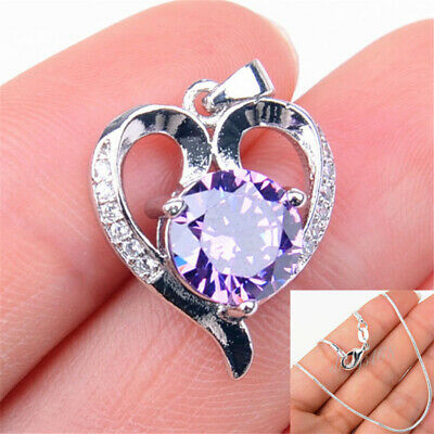 REAL 925 Sterling Silver Tarnish-Free Open Heart PURPLE Crystal Pendant+Necklace