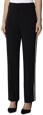 Tahari by ASL Womens Pants Black Size 6 Dress Striped Mid-Rise Stretch $89- 391