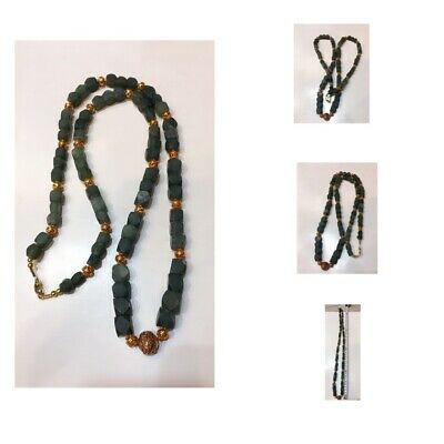 Afghanistan old jade stone natural gold plated very beautiful necklace