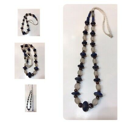 Afghanistan old lapis agate  crystal stone natural stone necklace very beautiful