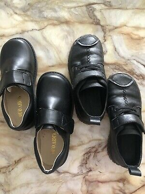 boys black school shoes Real Leather Rubber Sole New Great Condition Size 30