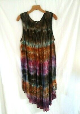 Womens Plus Size Raja Tie Dyed Embroidered Sundress/ Swim Cover Up 1X-3X OSP