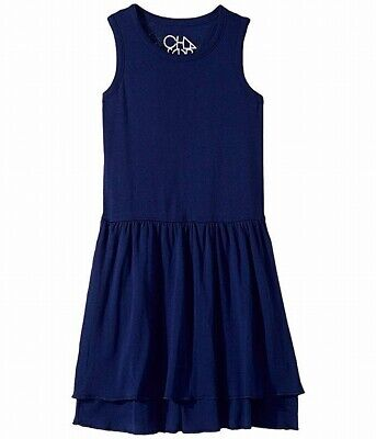 Chaser Girls Dress Navy Blue Size 10 Ruffle Tiered Flare Tank Knit $33 116
