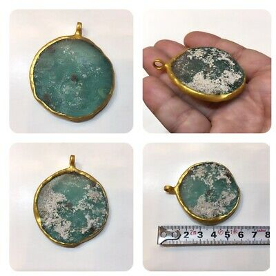 Afghanistan ancient Roman glass pendant gold plated very beautiful glass  natura