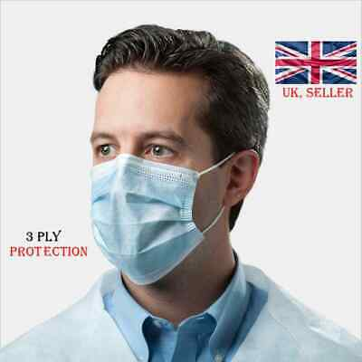 5x Disposable Face Mask 3ply Surgical Respirator Dental Dust Flu Virus