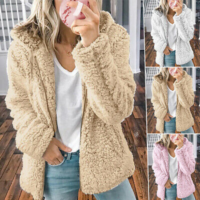 Women Fleece Fur Jacket Fluffy Hooded Coat Winter Warm Zip Up Sweatshirt Outwear