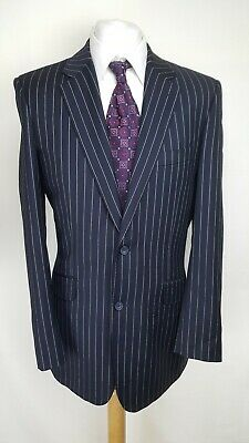TM Lewin Mens Suit Jacket, Size 42L, Navy Striped, 100% Wool, Good Condition