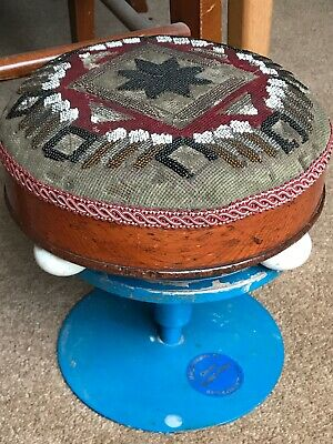 Small Antique 19th C Victorian Glass Beaded Footstool With Porcelain Bun Feet