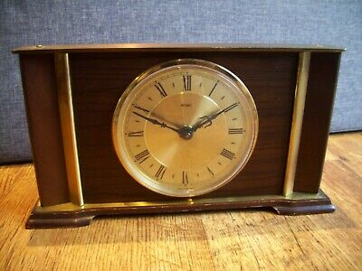 Vintage 1950's Metamec 8 Day Mantel Clock Oak Panel and Brass Casing (Winding)