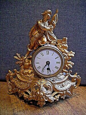 Antique 19th Century French Cast Spelter Mantel Clock with Male Figure Finial.