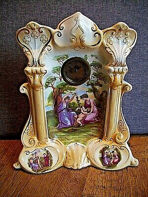 Antique Victorian Ornate Porcelain Cased Swiss Mantel Clock with Painted Scene.
