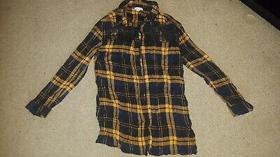 Lovely Mustard Black And Navy Checked Girls River Island Shirt Age 9-10
