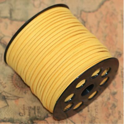 10yd 3mm Jewelry Making Thread Cords DIY Suede Leather String yellow/YYH