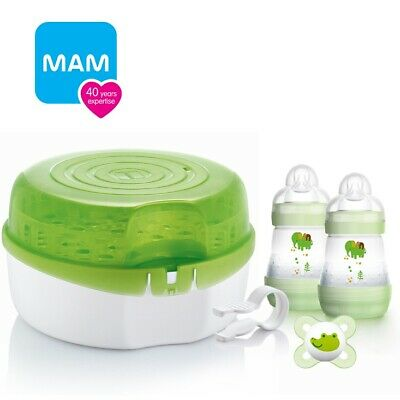 MAM Microwave Steam Steriliser & Feeding Bottles Baby Starter Set Tongs Soother
