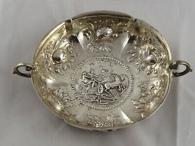 ANTIQUE GERMAN / DUTCH SOLID SILVER WINE TASTER SWEEMEAT DISH 19TH CENTURY 103 g