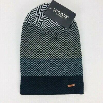 Lethmik Mens Beanie Gray Multicolor Chevron Knit Slouchy Long Thick Hat