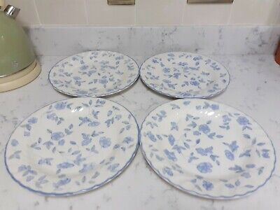 BHS . Bristol Blue Pattern ( 4 Large Rimmed Dinner Plates 26.5cm ) Fluted