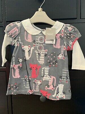 Baby Girls Cute Cat Top From Next 3-6 Months Brand New