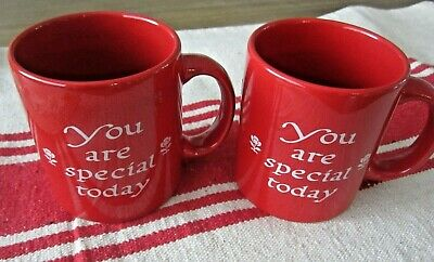 2  Waechtersbach You Are Special Today Red Coffee Mugs- Germany Set Lot