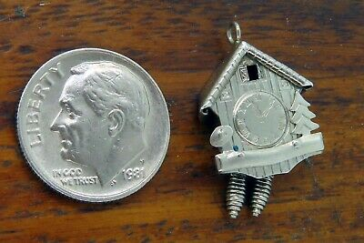 Vintage sterling silver CUCKOO CLOCK GERMAN GERMANY WOODEN ACORNS MOVABLE charm