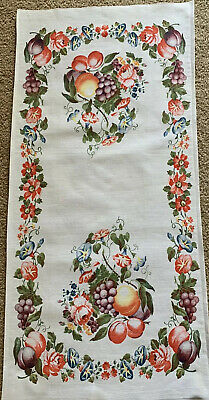 Vintage Fruit And Floral Cotton Print Hand Towel Table Runner