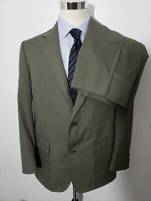 Mens Vintage BROOKS BROTHERS Cotton Suit 42 R Olive Green Khaki Pants 36 x 27