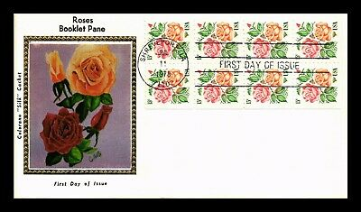 Dr Jim Stamps Us Roses Booklet Pane First Day Of Issue Cover Colorano Silk