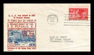 Dr Jim Stamps Us Grand Army Of Republic Gar Fdc Sanders Cover Scott 985