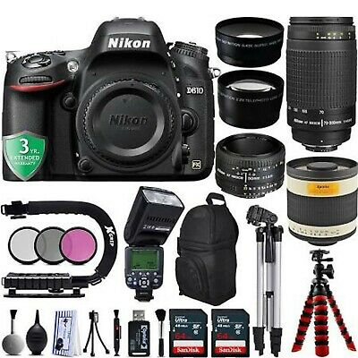 Nikon D610 1080p DSLR Camera w/ Nikon 50mm 1.8D & 70-300mm G lens Opteka Bundle