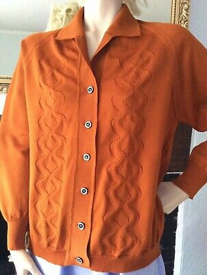 1960s VINTAGE BROWN MUSTARD CARDIGAN TOP PATTERN MOD MODETTE SCOOTER RETRO